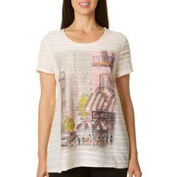 Ellen Negley Womens Perfectly Paris Print Textured Top