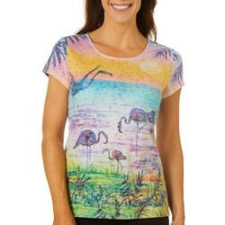 Ellen Negley Womens Sunset Flamingo Short Sleeve Top