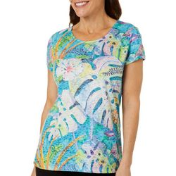 Ellen Negley Womens Palm Leaf Burnout Short Sleeve Top