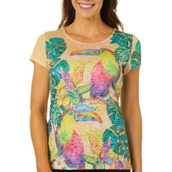 Ellen Negley Womens Tropical Toucan Short Sleeve Top
