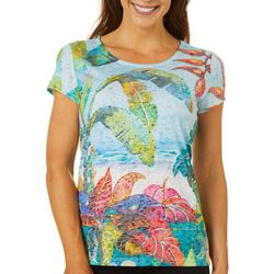 Ellen Negley Womens Florida Palms Short Sleeve Top