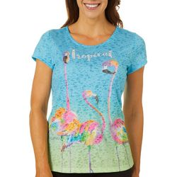 Ellen Negley Womens Funky Flamingos Burnout Short Sleeve Top