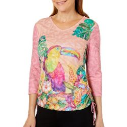 Ellen Negley Womens Tropical Toucan Ruched Top