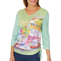 Ellen Negley Womens Moody Bermuda Ruched Top