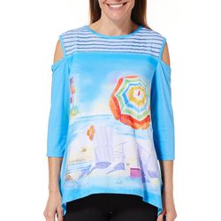 Ellen Negley Womens Island Dreaming Cold Shoulder Top