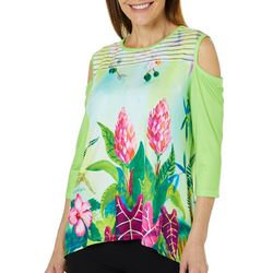 Ellen Negley Womens Tropical Temptation Cold Shoulder Top