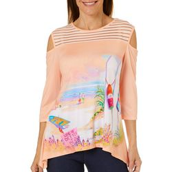 Ellen Negley Womens Sunday Funday Cold Shoulder Top
