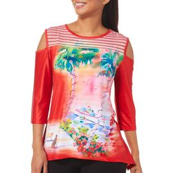 Ellen Negley Womens Workshop By The Sea Cold Shoulder Top