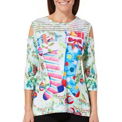 Ellen Negley Womens Hurray For Holidays Cold Shoulder Top