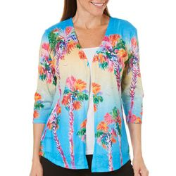 Ellen Negley Womens Palm Perspective Cardigan