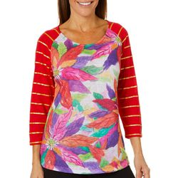 Ellen Negley Womens Peaceful Poinsettias Glitter Top