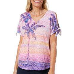 Ellen Negley Womens Shaded Sunsets Tie Sleeve Top