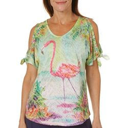 Ellen Negley Womens Flamingo Lagoon Cold Shoulder Top