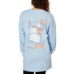 Its a Girl Thing Juniors Let It Roll Snowman Top