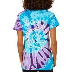 PAWZ Juniors Swirl Tie Dye Paw Print Short Sleeve T-Shirt