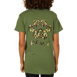 PAWZ Juniors Camo Paw Print Short Sleeve T-Shirt