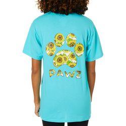 PAWZ Juniors Sunflower Paw Print Short Sleeve T-Shirt