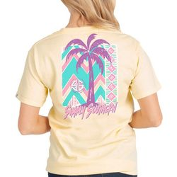 Simply Southern Juniors Palm Tree Chevron Logo T-Shirt