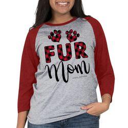 Simply Southern Juniors Fur Mom Plaid Raglan Top