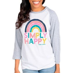 Simply Southern Juniors Vintage Simply Happy Raglan Top