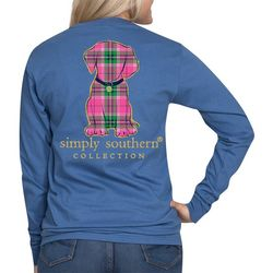Simply Southern Juniors Plaid Puppy Long Sleeve Top