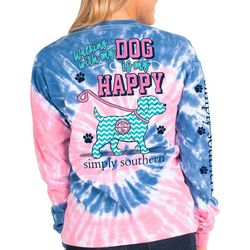 Simply Southern Juniors Tie Dye Walking Dog Long Sleeve Top