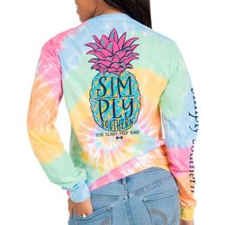 Simply Southern Juniors Tie Dye Pineapple Long Sleeve Top