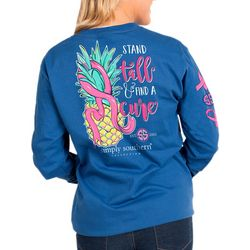 Simply Southern Juniors Pineapple Awareness Long Sleeve Top