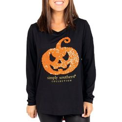 Simply Southern Juniors Sequin Pumpkin Long Sleeve Top