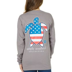 Simply Southern Juniors Americana Turtle Long Sleeve Top