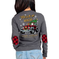 Simply Southern Juniors Merry And Bright Long Sleeve Top