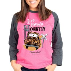 Country Chick Washed Country Long Sleeve Top