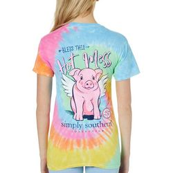 Simply Southern Juniors Tie Dye Bless This Hot Mess T-Shirt