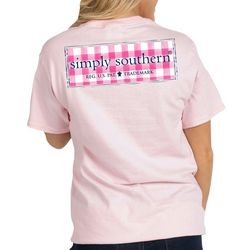 Simply Southern Juniors Plaid Detail Logo T-Shirt