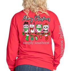 Simply Southern Juniors Merry Christmas Owl Long Sleeve Top