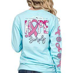 Simply Southern Juniors Pink Ribbon Hope Long Sleeve Top