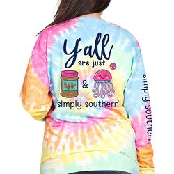 Simply Southern Juniors Tie Dye PB & J Long Sleeve Top