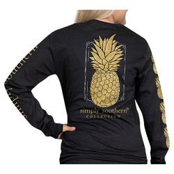 Simply Southern Juniors Tropical Pineapple Long Sleeve Top