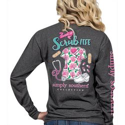 Simply Southern Juniors Scrub Life Long Sleeve Top