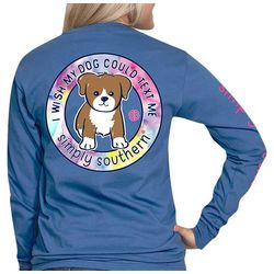 Simply Southern Juniors Wish Dog Could Text Long Sleeve Top