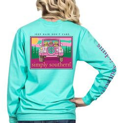 Simply Southern Juniors Jeep Hair Don't Care Long Sleeve Top