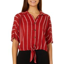 Leighton Juniors Striped Button Down Tie Front Cropped Top