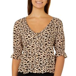 Leighton Juniors Leopard Print Ruffle Sleeve V-Neck Top