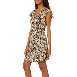 Leighton Juniors Leopard Print Wrap Dress