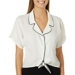 Leighton Juniors Solid Button Down Tie Front Cropped