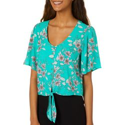 Leighton Juniors Floral Button Down Tie Front Cropped Top