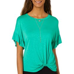 Leighton Juniors Solid Twist Front Top With Necklace