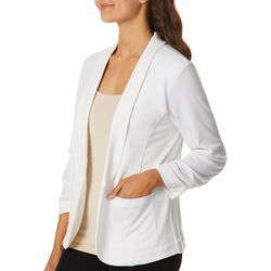 Leighton Juniors Solid Longline Ruched Sleeve Blazer