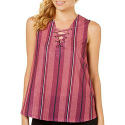 My Michelle Juniors Striped Lace-Up Tank Top