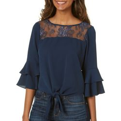 My Michelle Juniors Ruffled Bell Sleeve Tie Front Top